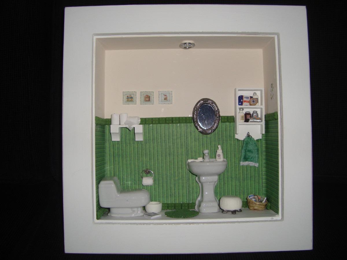 Roombox De Banheiros Lindos Quadros Com Miniaturas De Banho R$ 170  #4A6844 1200 900