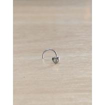 Piercing Nariz Nostril Aço Cirúrgico Coração C/ Pedra Branco