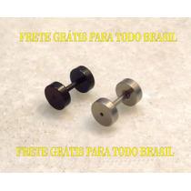 Par Falso Alargador1mm Preto+prata Aço316l Furo Brinco Comum