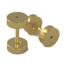 Par Falso Alargador Aço Gold Dourado 6 Mm Inspirartz