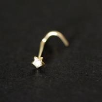 Piercing De Ouro 18k 0750 Estrela Com 1 Pedra De Zircônia