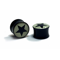 Alargador Orelha Plug 8mm Acrilico Estrela Star