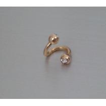 Piercing Folheado Ouro Orelha Cartilagem Twister Com Strass