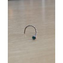 Piercing Nariz Nostril Aço Cirurgico Pedra Verde Esmeralda