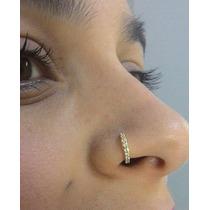 Piercing Argola Nariz Indiano Folheado A Ouro 8mm Zircônias