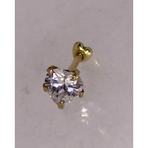 Piercing Orelha E Cartilagem Coração Ouro 18k 750 Com Pedra