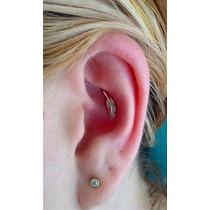 Piercing Orelha Cartilagem Em Prata De Pena Com Garantia
