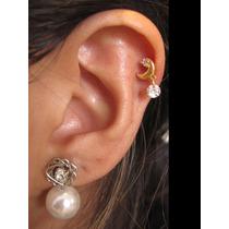 Piercing Orelha Tragus Fl Ouro, Cartilagem Zirconia Lua