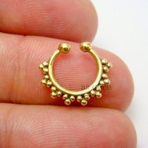 Piercing Justo De Septo Em Bronze Dourado P/ Nariz Sem Furo