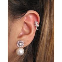 Piercing Orelha Cartilagem Fl Ouro18k Rodio Helix Lagartixa