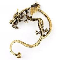 Brinco Orelha Dragão Ear Cuff Orelha Inteira Dourado