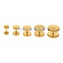 Alargador Falso De 14mm Ouro/dourado Furo De Brinco Comum