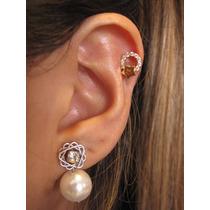 Piercing Orelha Helix Fl Ouro, Cartilagem Zirconia Estrela