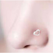Piercing Nariz Nostril De Coração Vazado Em Aço Cirúrgico
