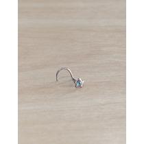 Piercing Nariz Nostril Aço Cirúrgico Estrela Com Pedra Azul
