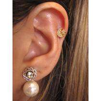 Piercing Orelha Tragus Fl Ouro, Cartilagem Lua Estrela Helix
