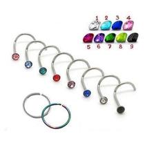 Piercing De Nariz Kit Com 6 - Nostril / Reto Aço Cirúrgico