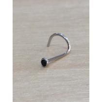 Piercing Nariz Nostril Aço Cirurgico Pedra Preta