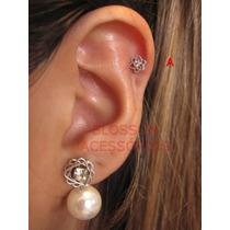 Piercing Aço Orelha Cartilagem Flor Ouro 18k Helix Prata