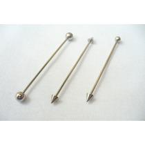 Piercing Transversal Spike/bolinha. Aço, Jóia De Qualidade