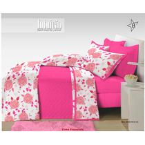 Edredom Queen Com 2 Fronhas Rosas Pink Malha 100% Algodão