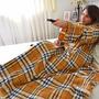 Cobertor Com Mangas Em Soft Adulto - Xadrez Amarelo - Lux Co