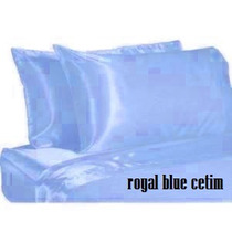 Jogo De Lencol Em Cetim Azul Bebe Casal Padrao 1,38x1,88