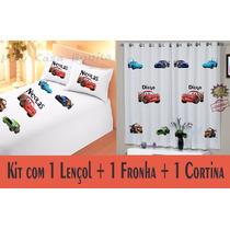 Cortina + Lençol + Fronha Carros Disney Personalizado Nome