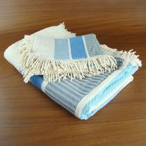 Conjunto Cama Solteiro Em Tear Manual 2pçs - Cru E Azul