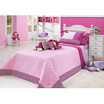 Cobre Leito Solteiro Soninho Boneca + Cortina Rosa Pink