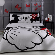 Kit De Jogo De Cama Queen Size - Disney Minnie & Mickey
