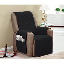Protetor Para Sofa Poltrona 1 Pçs Cor Preta Toda Com Vieis