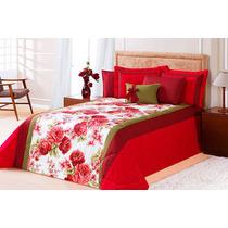 Edredom Queen Vermelho + Porta Travesseiros + Almofada