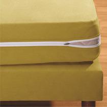 Capa P/colchão De Malha C/zíper 100%algodão Casal Mostarda