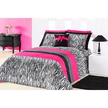 Edredom Queen Zebra C/ Pink + Porta Travesseiros + Almofada