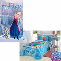 Kit Quarto Infantil Edredom + Toalha D Banho + Fronha Frozen