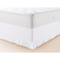 Saia Cama Box Queen Branco Babado Sem Levantar Colchão La