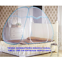 Mosquiteiro Casal 140 X 190 Cm Branco Azul Claro