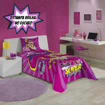 Colcha Solteiro Estampada Barbie Super Princesa Pink Lepper
