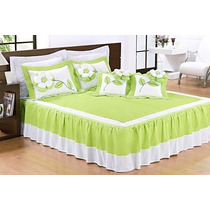 Colcha Fuxico Casal Padrão 09 Peças - Verde