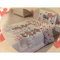 Colcha Edredom Mickey E Minnie Dia Dos Namorados 2 Peças