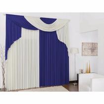 Cortina Elegance Azul E Branca 4,00x2,80 P/ Quarto E Sala