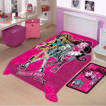 Cobertor Jolitex Solteiro Raschel Toque Macio Monster High