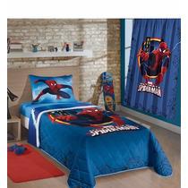 Colcha Matelasse + Cortina Homem Aranha Spider Man Infantil