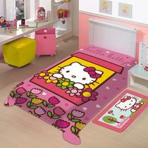 Cobertor Jolitex Solteiro Raschel Toque Macio Hello Kitty