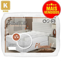 Pillow Top King 100% Pluma De Ganso Percal 233 Fios-plumasul