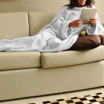 Cobertor Com Mangas Em Soft Adulto - Branco - Lux Confort