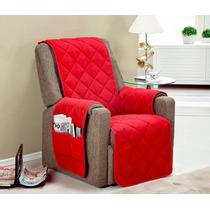 Protetor Para Sofa Poltrona 1 Pçs Cor Vermelha Toda C/ Vieis