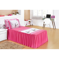 Colcha Karina Infantil 3 Pç Pink E Branco Quarto De Menina