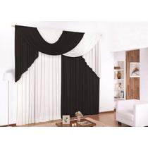 Cortina Elegance Preto E Branca 3,00x2,80 P/ Quarto E Sala